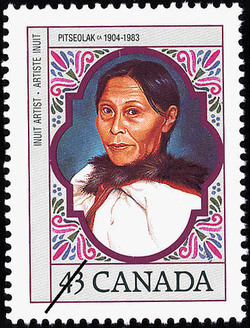 Pitseolak, circa 1904-1983, Inuit Artist Canada Postage Stamp | Canadian Women