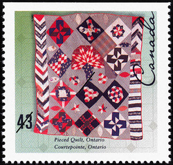Pieced Quilt, Ontario Canada Postage Stamp | Hand-crafted Textiles