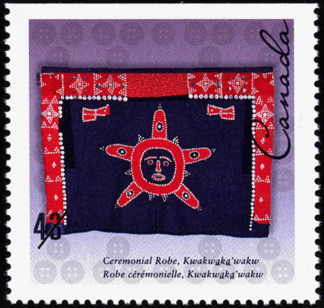 Ceremonial Robe, Kwakwaka'wakw Canada Postage Stamp   Hand-crafted Textiles