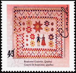 Boutonne Coverlet, Quebec Canada Postage Stamp | Hand-crafted Textiles