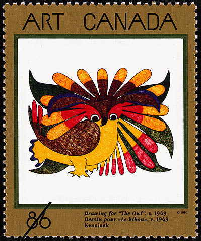 """Drawing for """"The Owl"""", Kenojuak, c. 1969 Canada Postage Stamp 