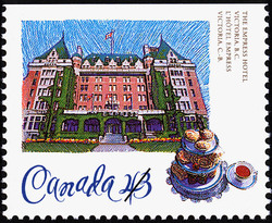 The Empress Hotel, Victoria, British Columbia Canada Postage Stamp | Historic Hotels