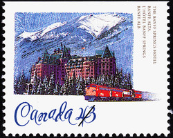 The Banff Springs Hotel, Banff, Alberta Canada Postage Stamp | Historic Hotels