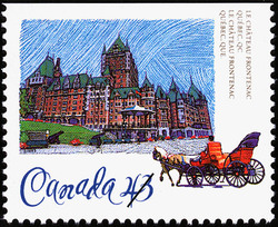 Le Chateau Frontenac, Quebec, Quebec Canada Postage Stamp | Historic Hotels