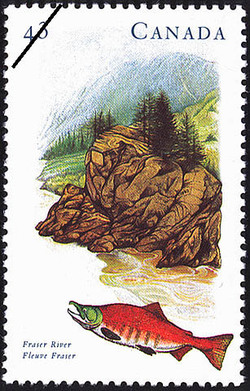 Fraser River Canada Postage Stamp | Canada's River Heritage, Routes of Settlement and Growth
