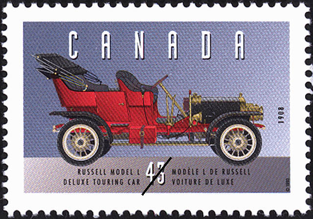 Russell Model L, 1908, Deluxe Touring Car Canada Postage Stamp | Historic Land Vehicles, Personal Vehicles