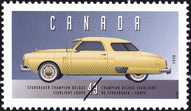 Studebaker Champion Deluxe, 1950, Starlight Coupe Canada Postage Stamp | Historic Land Vehicles, Personal Vehicles