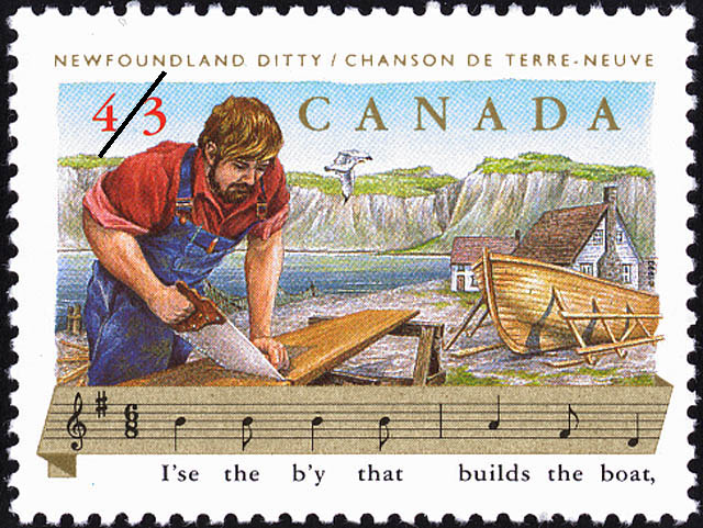 Newfoundland Ditty, I'se the b'y that builds the boat Canada Postage Stamp