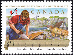 Newfoundland Ditty, I'se the b'y that builds the boat Canada Postage Stamp | Folklore, Folk Songs