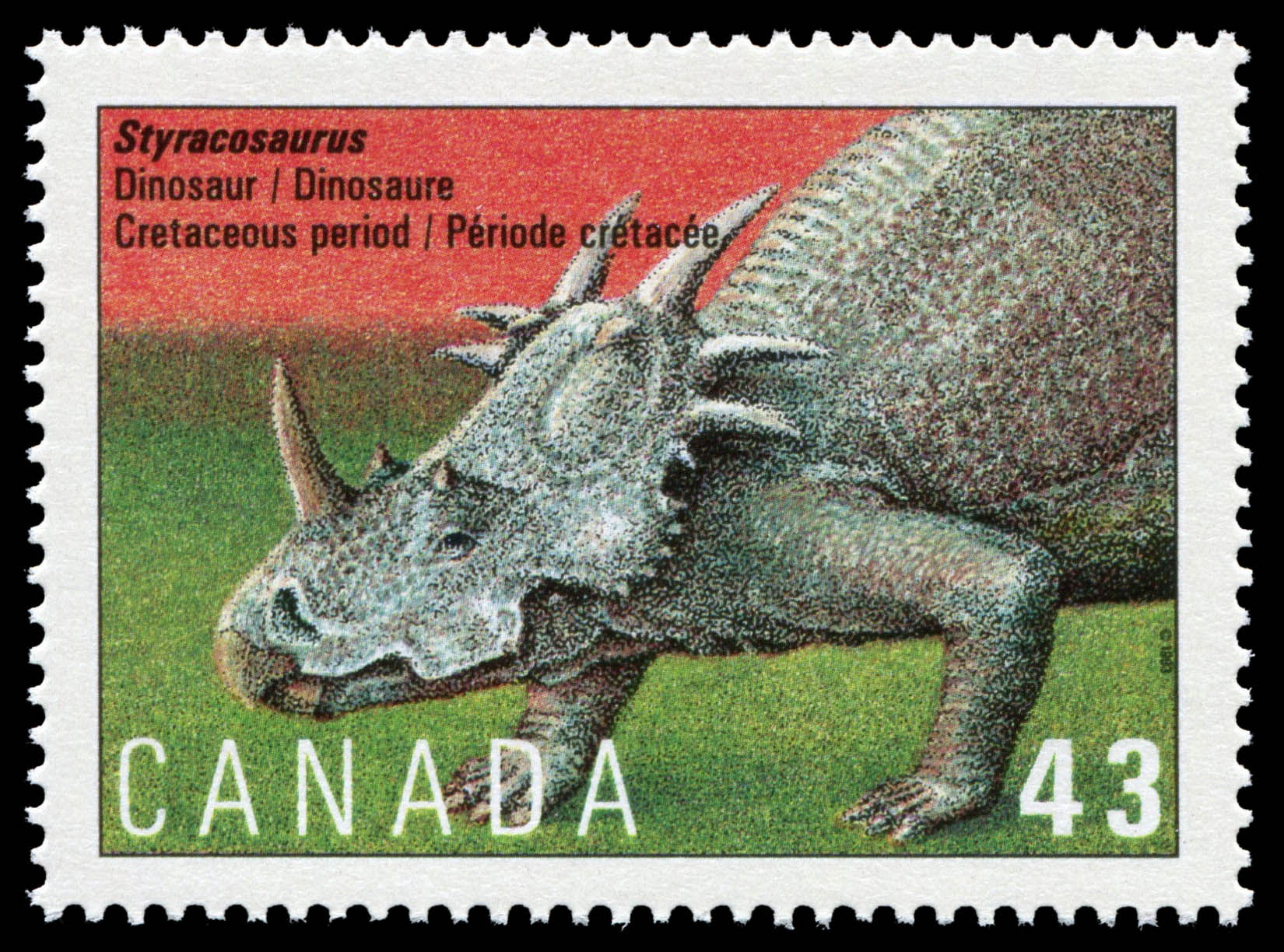 Styracosaurus, Dinosaur, Cretaceous Period Canada Postage Stamp | Prehistoric Life in Canada, The Age of Dinosaurs
