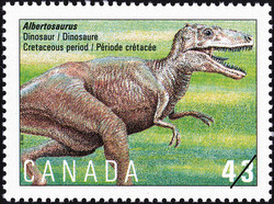 Albertosaurus, Dinosaur, Cretaceous Period Canada Postage Stamp | Prehistoric Life in Canada, The Age of Dinosaurs