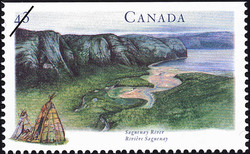 Saguenay River Canada Postage Stamp   Canada's River Heritage, Routes of the Fur Traders