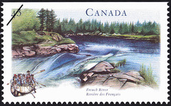 French River Canada Postage Stamp | Canada's River Heritage, Routes of the Fur Traders