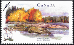 Churchill River Canada Postage Stamp   Canada's River Heritage, Routes of the Fur Traders