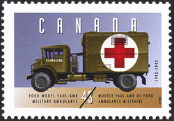 Ford Model F60L-AMB Military Ambulance - 1942-1943 Canada Postage Stamp | Historic Land Vehicles, Public Service Vehicles