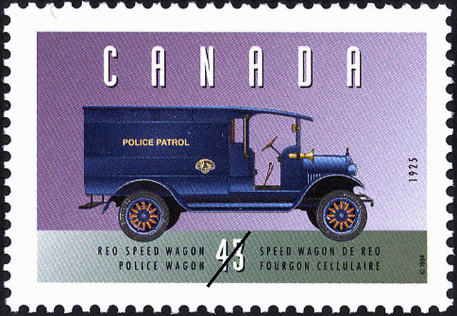 Reo Speed Wagon, 1925, Police Wagon Canada Postage Stamp | Historic Land Vehicles, Public Service Vehicles