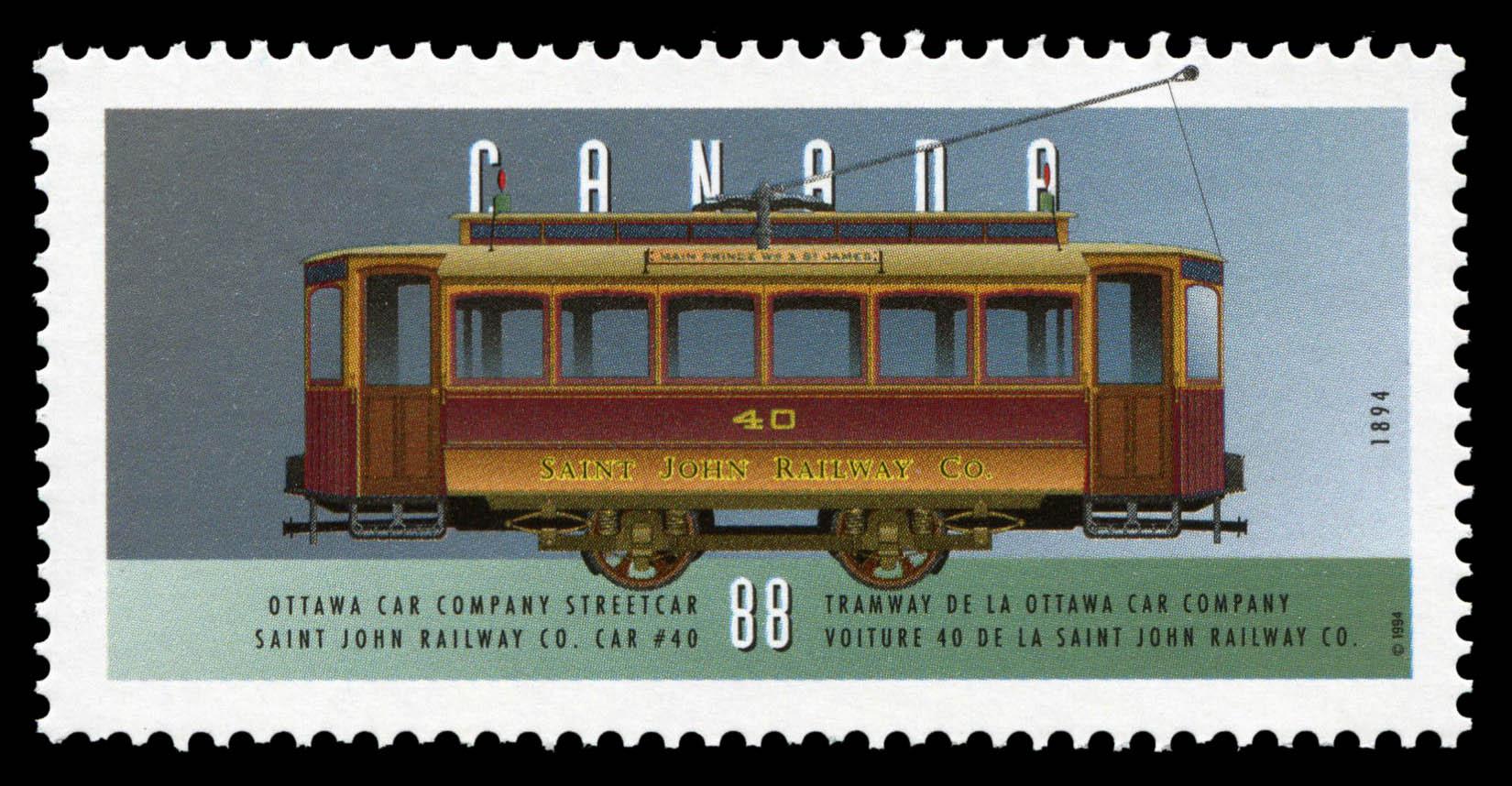 Ottawa Car Company Streetcar, 1894, Saint John Railway Co. Car #40 Canada Postage Stamp | Historic Land Vehicles, Public Service Vehicles