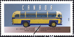 MCI Courier 50 Skyview, 1950, Motor Coach Canada Postage Stamp | Historic Land Vehicles, Public Service Vehicles