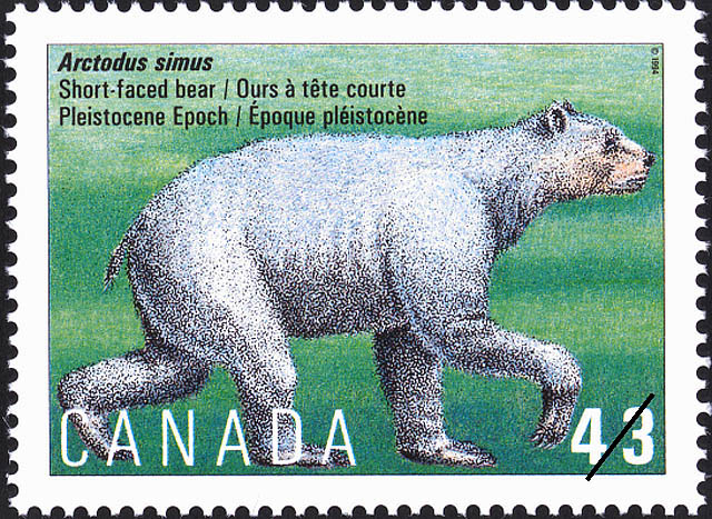 Arctodus simus, Short-faced Bear, Pleistocene Epoch Canada Postage Stamp | Prehistoric Life in Canada, The Age of Mammals