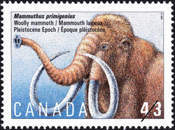 Mammuthus primigenius, Woolly Mammoth, Pleistocene Epoch Canada Postage Stamp | Prehistoric Life in Canada, The Age of Mammals