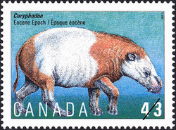 Coryphodon, Eocene Epoch Canada Postage Stamp | Prehistoric Life in Canada, The Age of Mammals