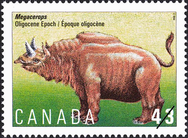 Megacerops, Oligocene Epoch Canada Postage Stamp