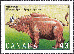 Megacerops, Oligocene Epoch Canada Postage Stamp | Prehistoric Life in Canada, The Age of Mammals