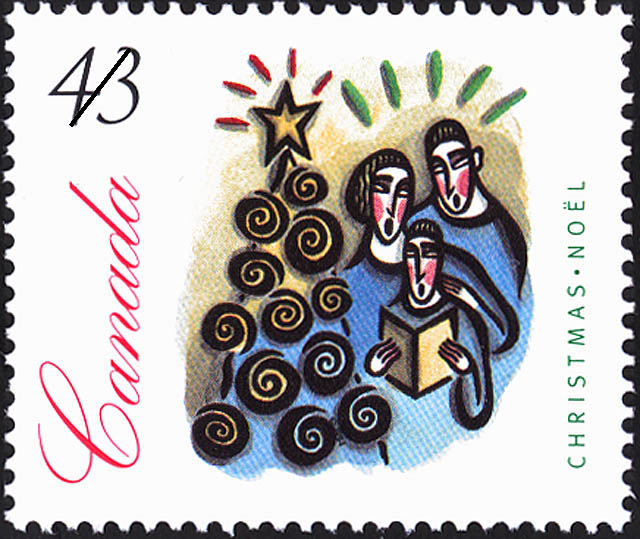 Group of People Gathered Around a Christmas Tree Canada Postage Stamp | Christmas