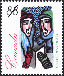 People Carolling Outdoors Canada Postage Stamp | Christmas