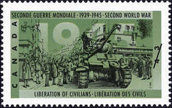 Liberation of Civilians Canada Postage Stamp | The Second World War, 1945, Peace