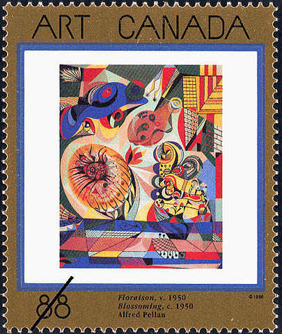 Blossoming, c. 1950, Alfred Pellan Canada Postage Stamp | Masterpieces of Canadian Art