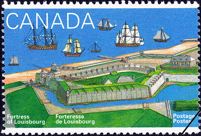 The Harbour and Dauphin Gate Canada Postage Stamp | Fortress of Louisbourg