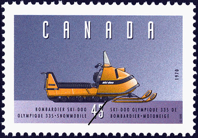 Bombardier Ski-Doo Olympique 335, 1970, Snowmobile Canada Postage Stamp | Historic Land Vehicles, Farm and Frontier Vehicles