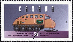 Bombardier B-12 CS, 1948, Multi-Passenger Snowmobile Canada Postage Stamp | Historic Land Vehicles, Farm and Frontier Vehicles