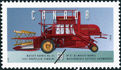 Massey-Harris No. 21, 1942, Self-Propelled Combine Canada Postage Stamp | Historic Land Vehicles, Farm and Frontier Vehicles