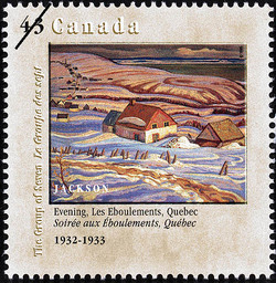 Evening, Les Eboulements, Quebec, 1932-1933, Jackson Canada Postage Stamp | Canada Day, The Group of Seven, 1920-1995, Original Members