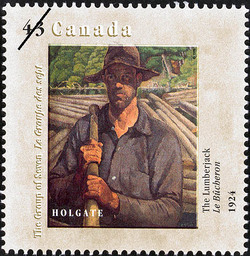 The Lumberjack, 1924, Holgate Canada Postage Stamp | Canada Day, The Group of Seven, 1920-1995, New Members