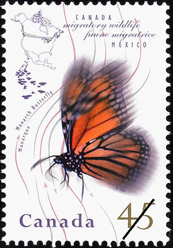 Monarch Butterfly Canada Postage Stamp | Migratory Wildlife, Canada-Mexico