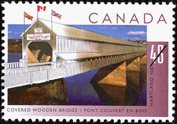 Covered Wooden Bridge, Hartland, New Brunswick Canada Postage Stamp | Bridges
