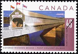 Covered Wooden Bridge, Hartland, New Brunswick Canada Postage Stamp | Bridges