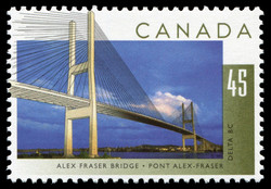 Alex Fraser Bridge, Delta, British Columbia Canada Postage Stamp | Bridges