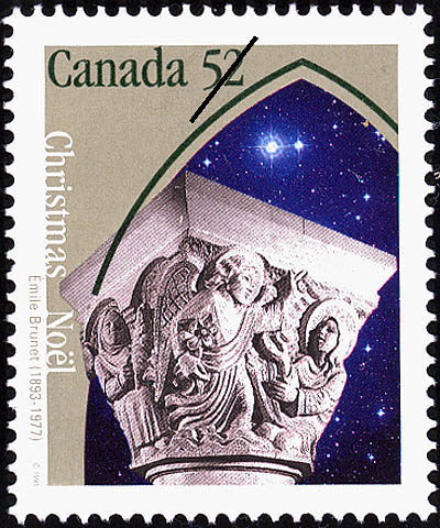 The Annunciation Canada Postage Stamp   Christmas, Emile Brunet (1893-1977)
