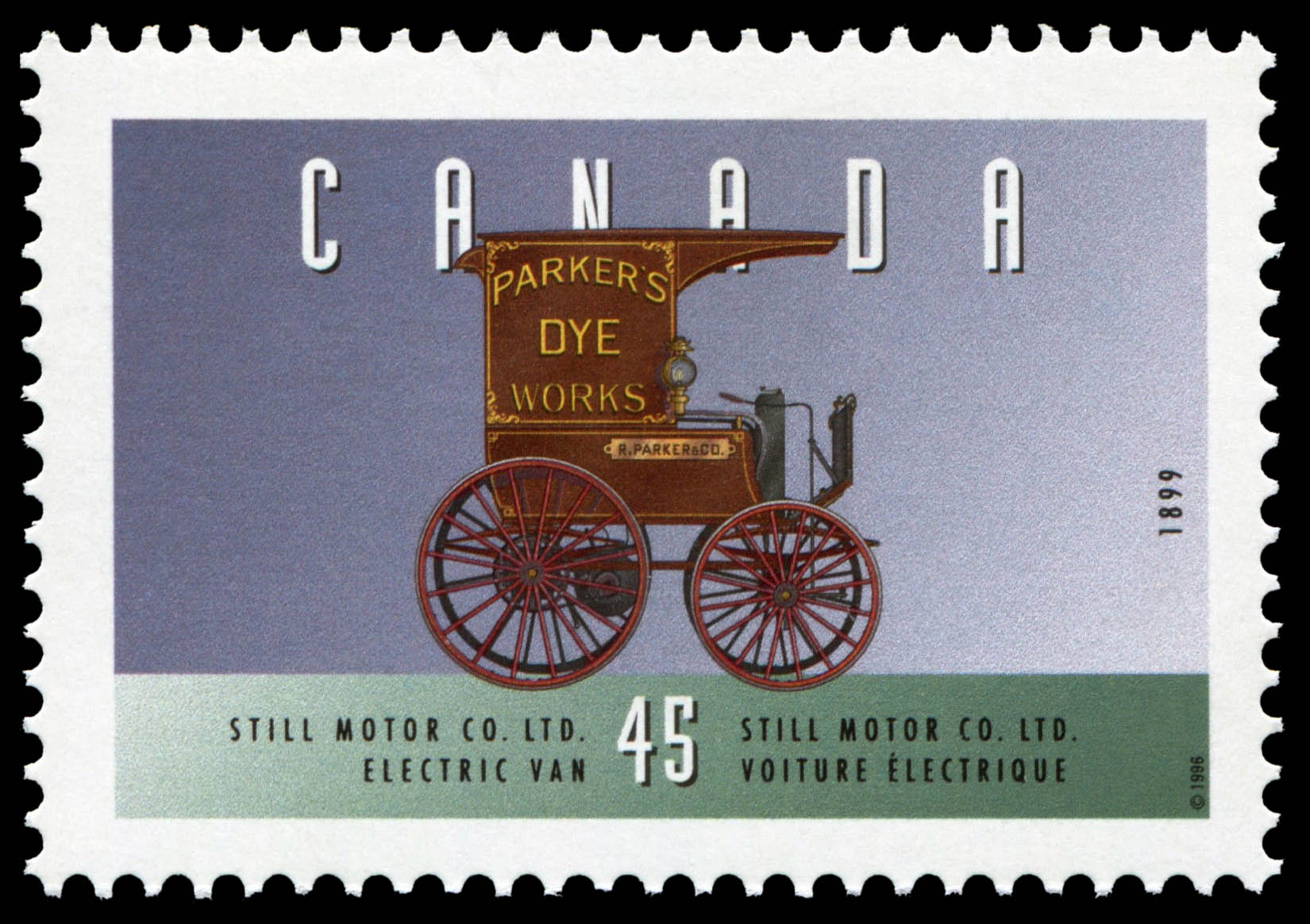 Still Motor Co. Ltd., 1899, Electric Van Canada Postage Stamp | Historic Land Vehicles, Industrial and Commercial Vehicles