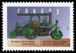 Waterous Engine Works, 1914, Road Roller Canada Postage Stamp | Historic Land Vehicles, Industrial and Commercial Vehicles