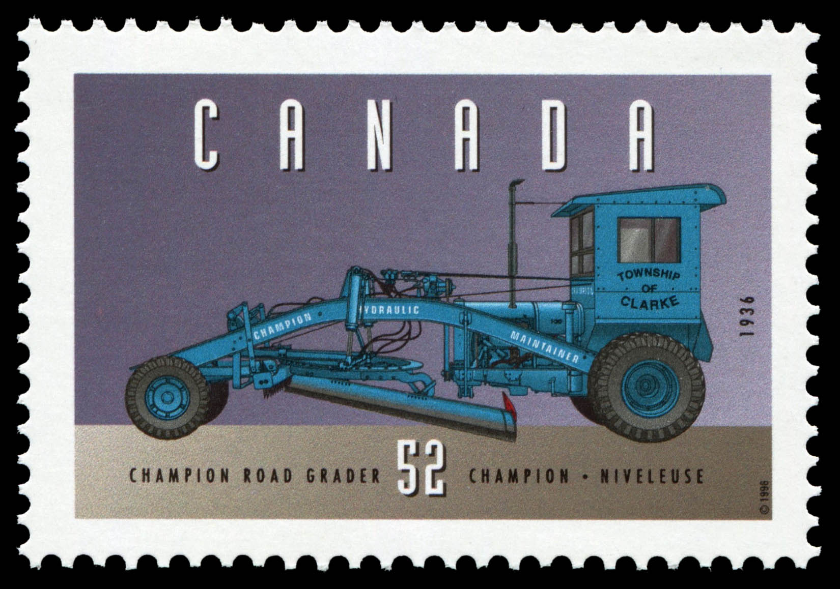 Champion Road Grader, 1936 Canada Postage Stamp | Historic Land Vehicles, Industrial and Commercial Vehicles