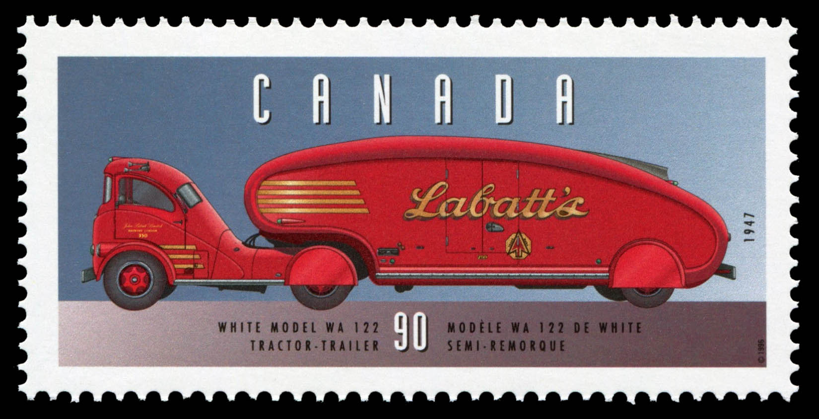 White Model WA 122, 1947, Tractor-Trailer Canada Postage Stamp | Historic Land Vehicles, Industrial and Commercial Vehicles