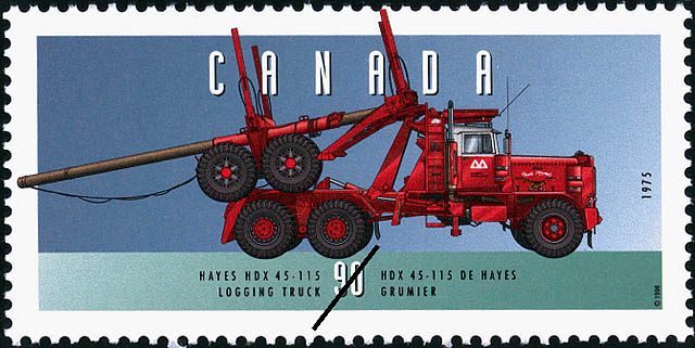 Hayes HDX 45-115, 1975, Logging Truck Canada Postage Stamp | Historic Land Vehicles, Industrial and Commercial Vehicles
