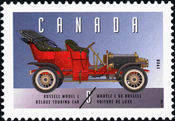 Russell Model L, 1908, Deluxe Touring Car Canada Postage Stamp | Historic Land Vehicles