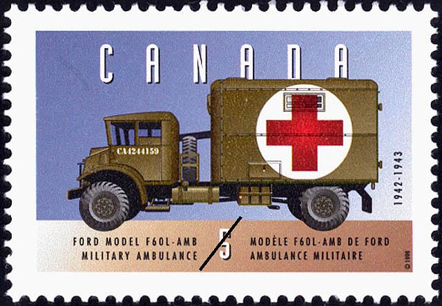 Ford Model F60L-AMB, 1942-1943, Military Ambulance Canada Postage Stamp | Historic Land Vehicles