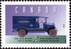 Reo Speed Wagon, 1925, Police Wagon Canada Postage Stamp | Historic Land Vehicles